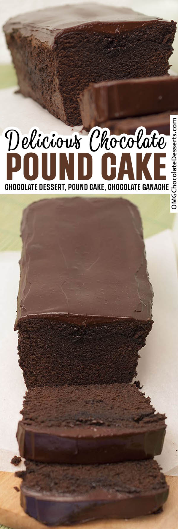 Two different inages of chocolate Pound Cake.