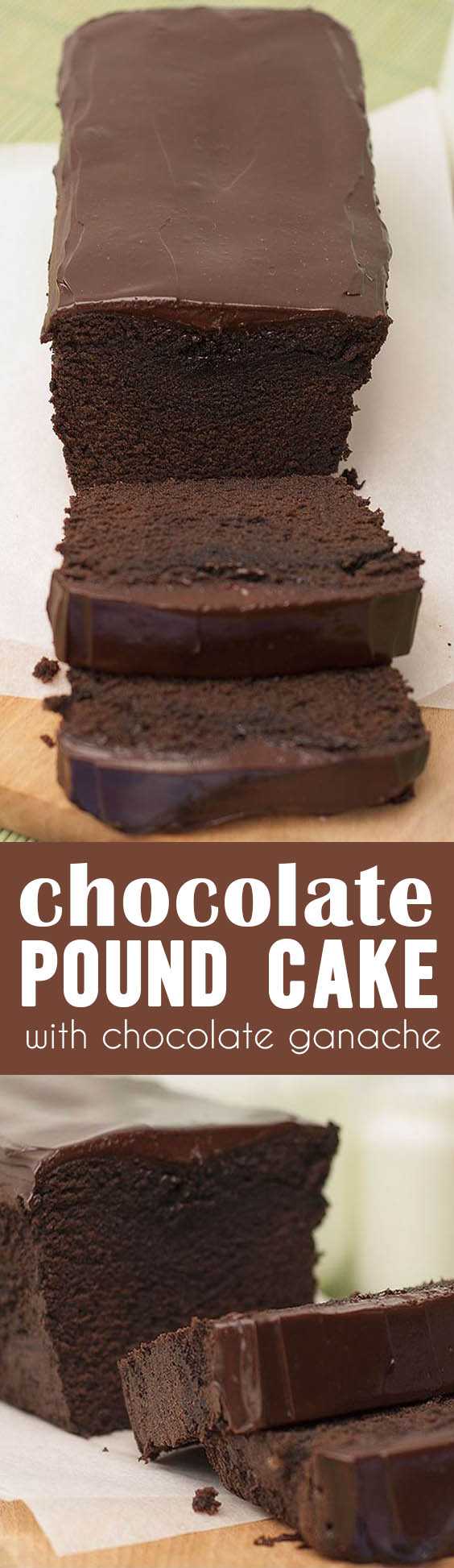A decadent Chocolate Pound Cake topped with an even more decadent chocolate ganache ~ it's the ultimate chocolate lover's dessert!