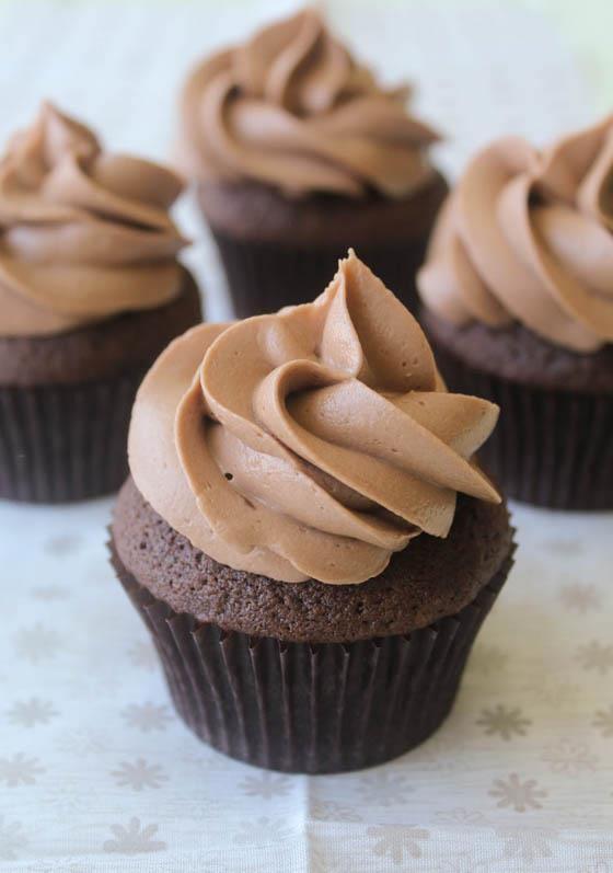 Dark Chocolate Cupcakes with Nutella Buttercream