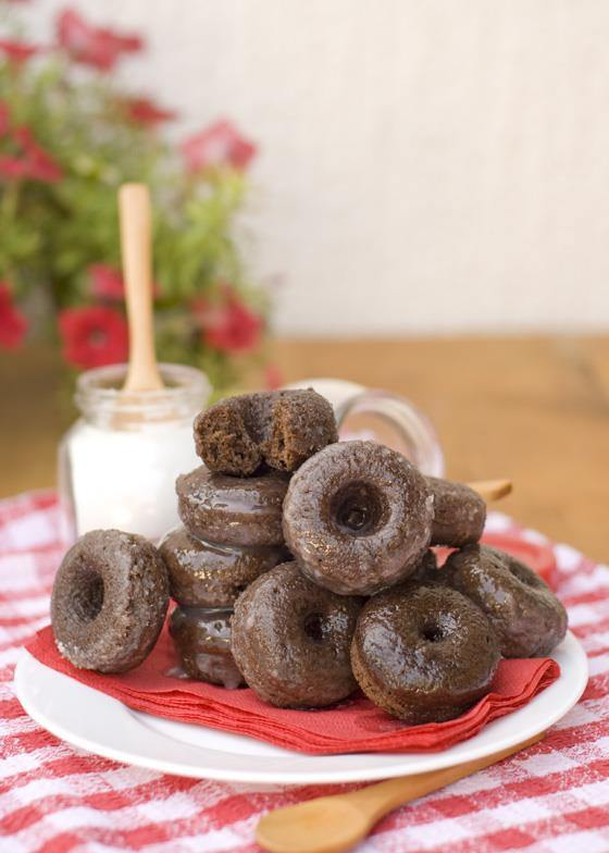 Lemon Glazed Chocolate Donuts