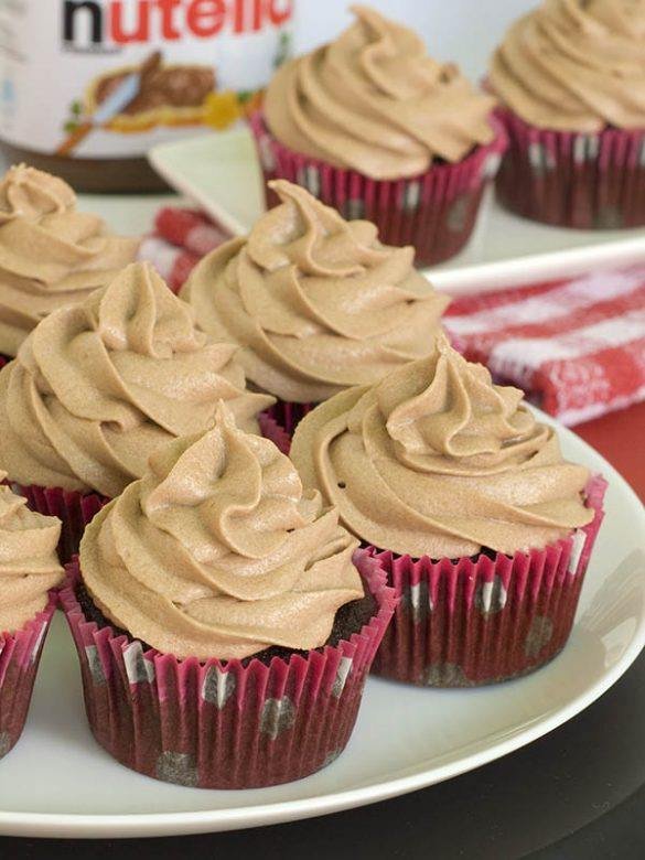 Nutealla cupcakes on the white plate
