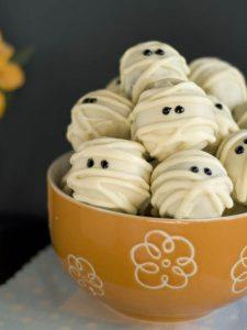 Mummy Truffles in a yellow bowl