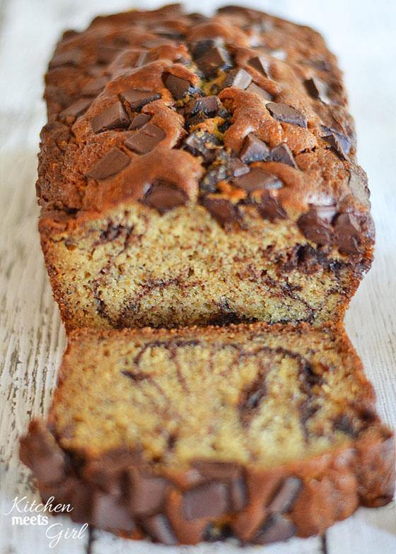 Dark Chocolate Peanut Butter Banana Bread