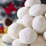 Pile of Christmas coconut snowball cookies