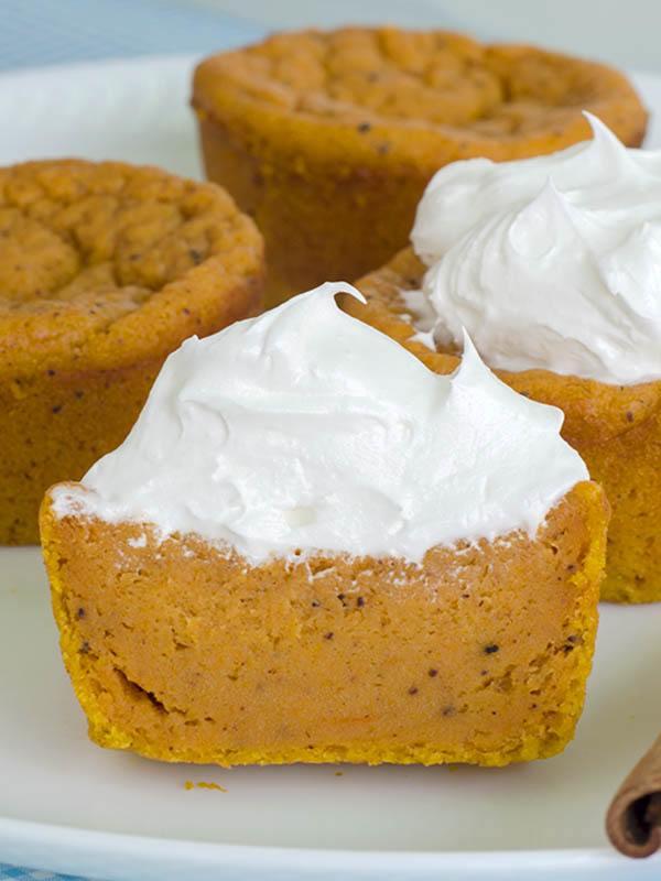 OMG Pumpkin Pie Cupcakes sliced in half