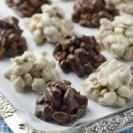 Tray of black and white chocolate peanut clusters