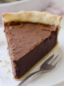 Piece of Chocolate Fudge Pie on white plate