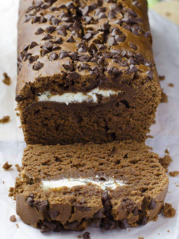 Loaf of Chocolate Cream Cheese Chocolate Banana bread