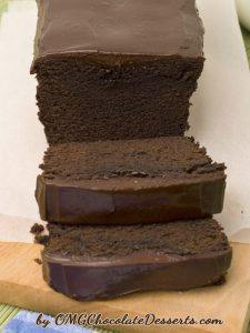 Loaf and slices of Chocolate Pound Cake