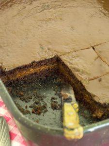 Honey Heart Chocolate Cake in the pan