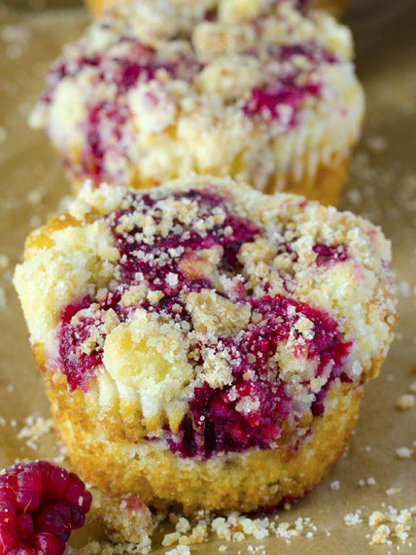Raspberry Muffins in a raw.