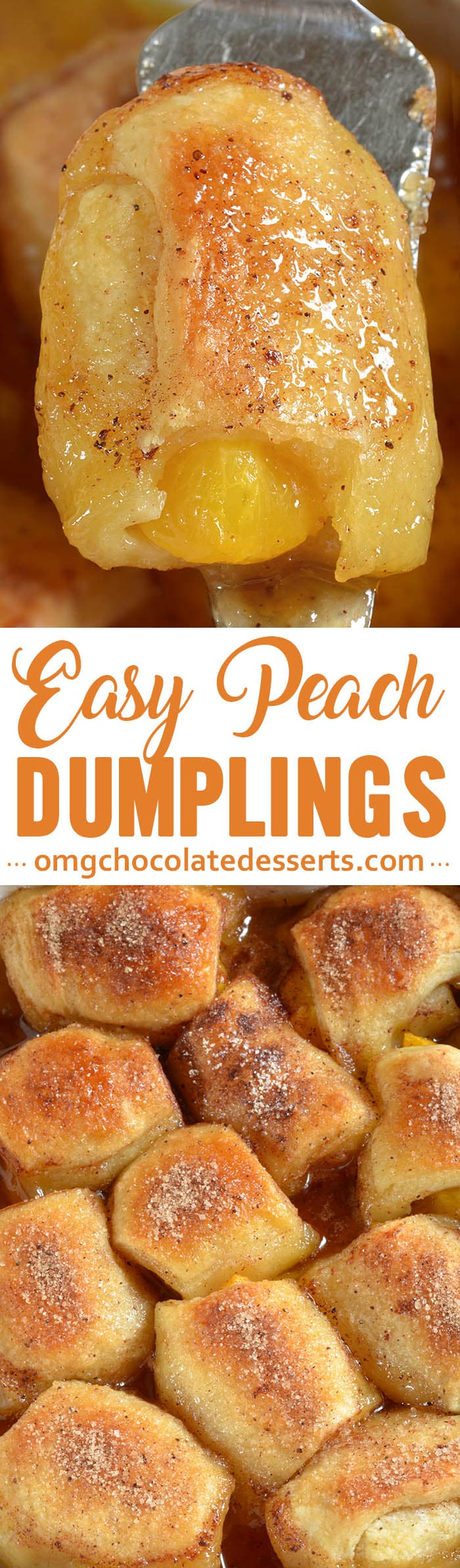 These peach dumplings bake into a delicious, sweet and buttery dessert. Serve warm with a scoop of vanilla ice cream!