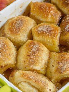 Peach Dumplings in baking dish