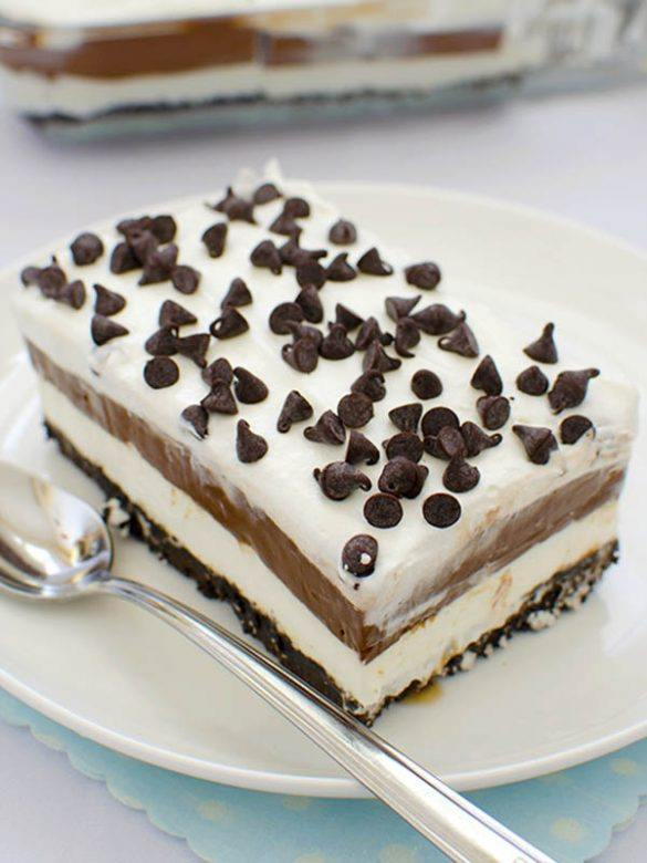 Piece of Chocolate Lasagna on white plate