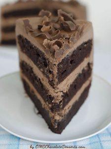 Piece of OMG Chocolate Chocolate Cake on white plate