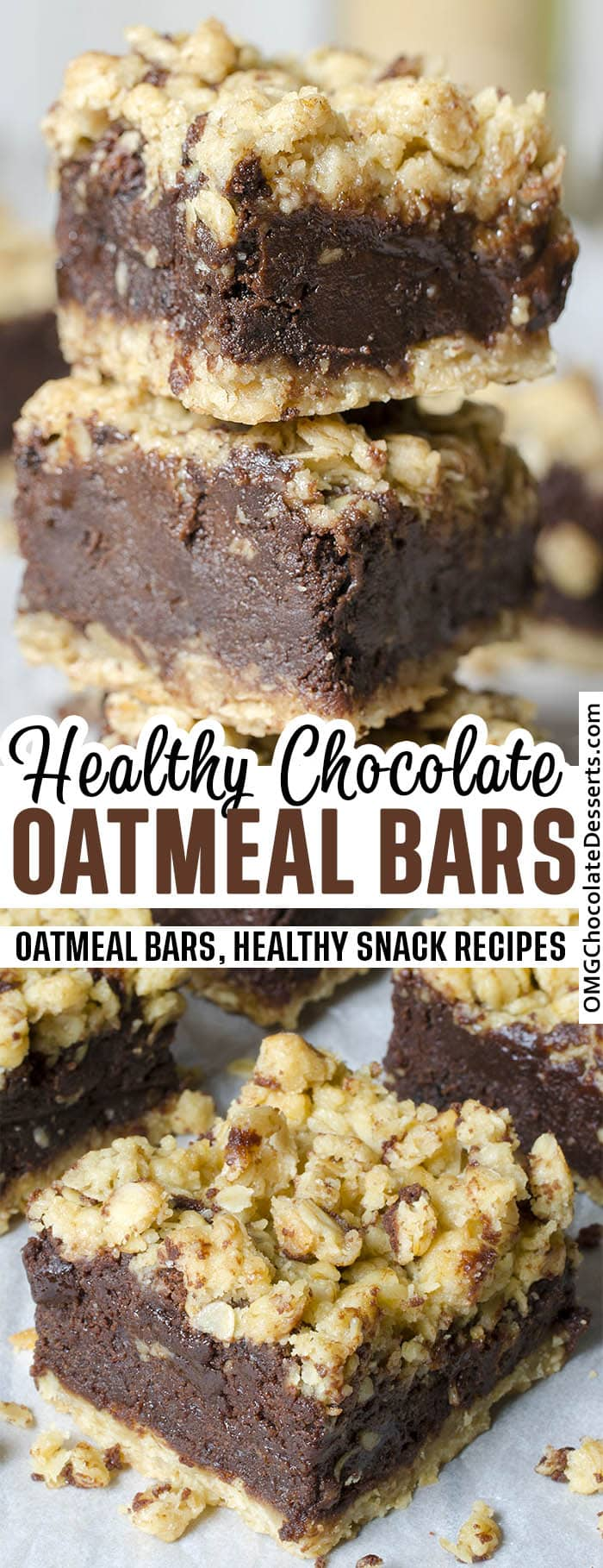 Chocolate Oatmeal Bars - two images with title text beside.