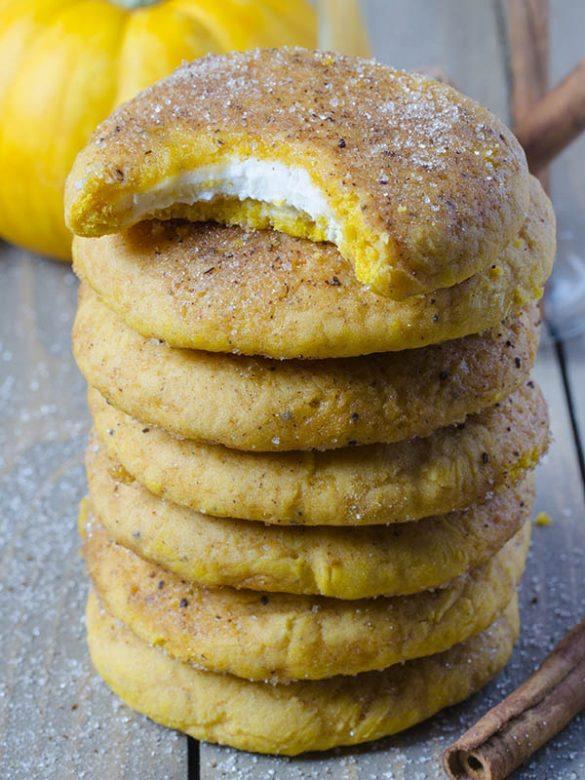 Stack of Snickerdoodle Pumpkin Cookies