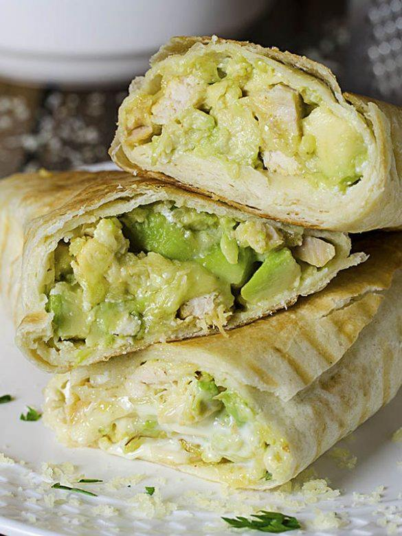 Chicken Avocado Buritos sliced in half