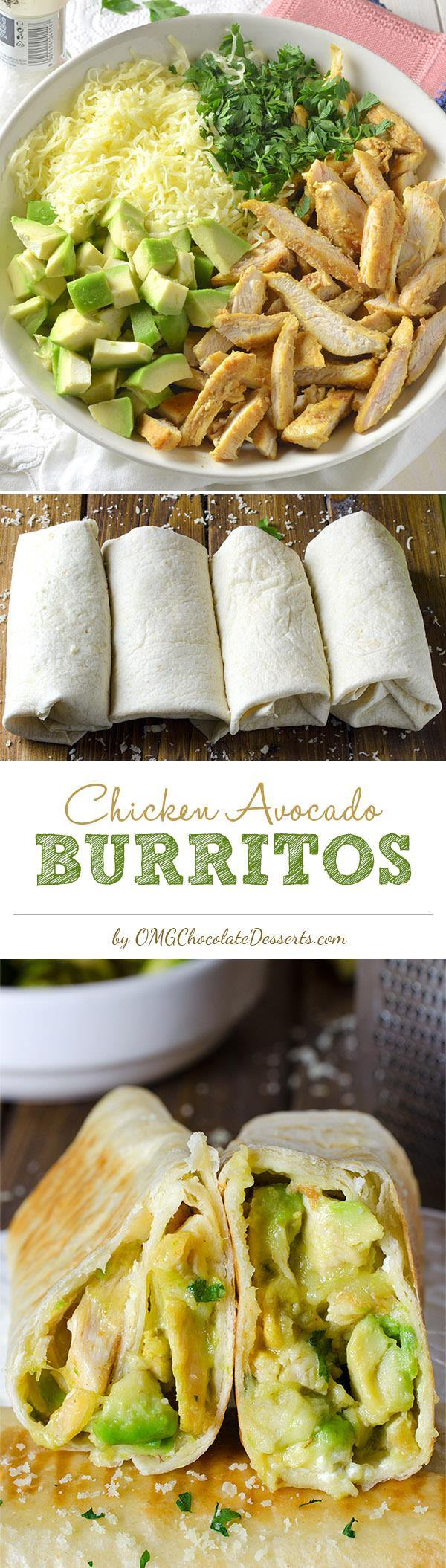 """If you are in a big hurry to prepare a beautiful lunch or dinner, maybe it's time for you to try the healthy and easy Chicken Avocado Burritos. I consider this a real """"trick up my sleeve"""" for situations like this."""