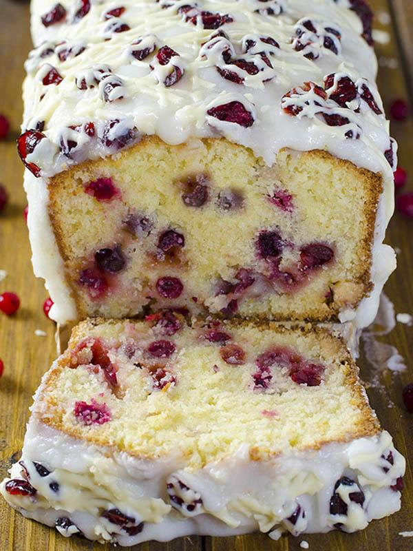 Sliced loaf of Christmas Cranberry Pound Cake