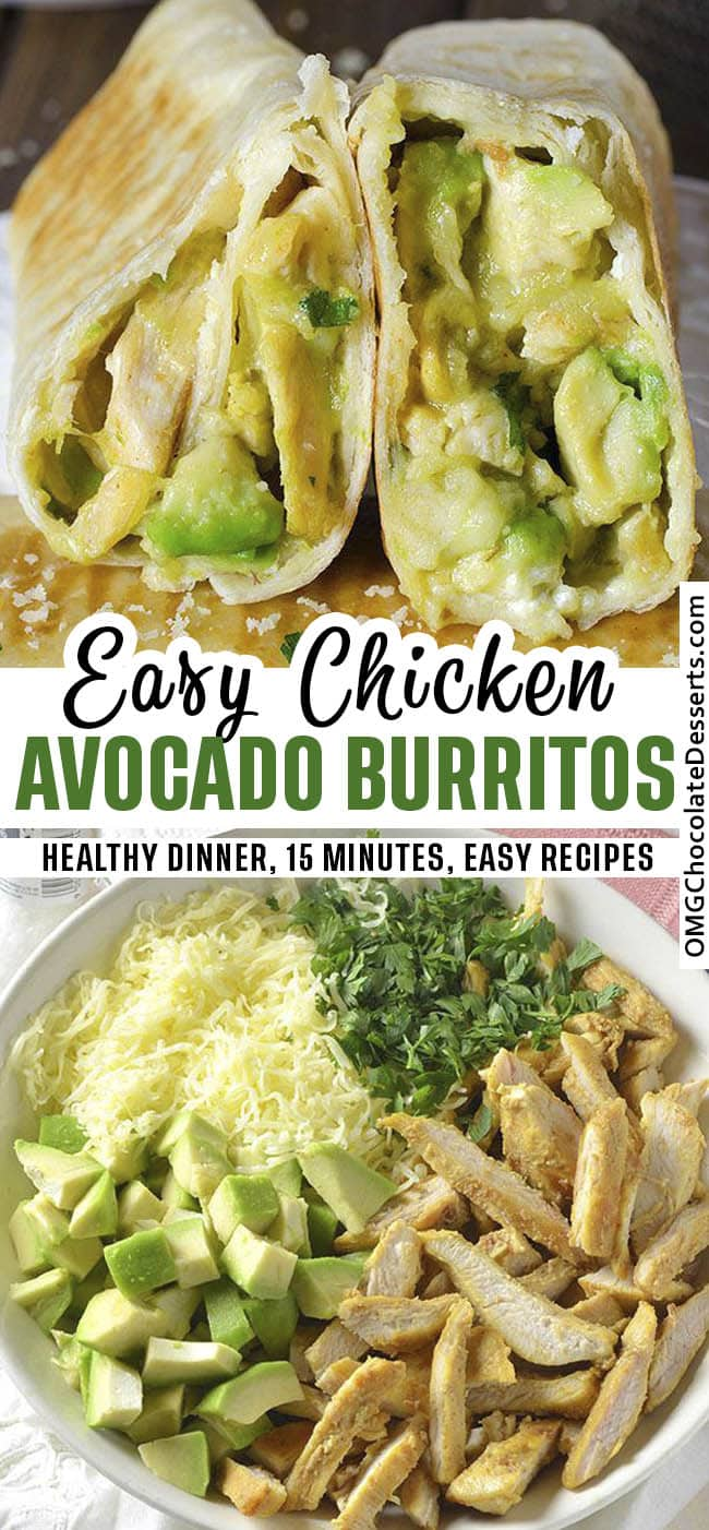 Chicken and Avocado Ranch Burritos - These come together with just 15 min prep!