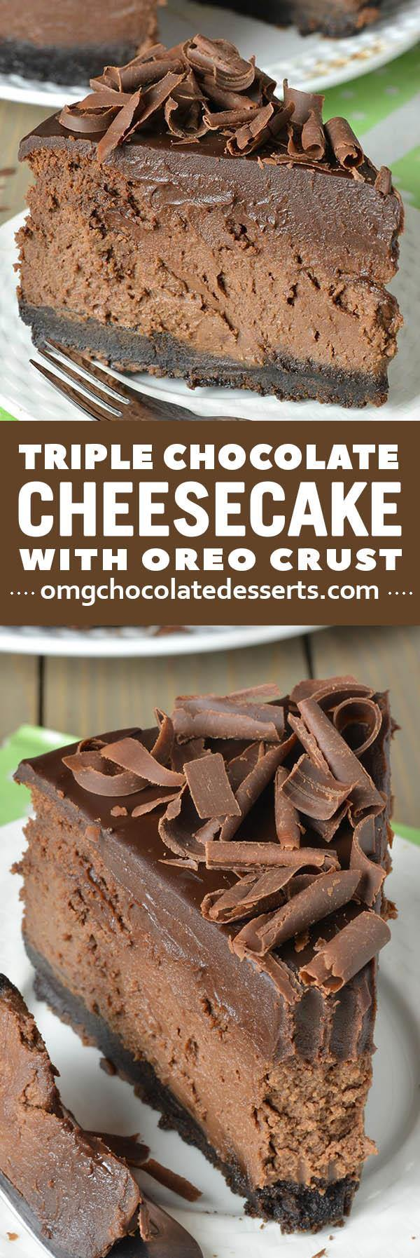 Triple Chocolate Cheesecake with Oreo Crust is reach and decadent, triple chocolate treat. It's chocolate loves dream: chocolate cookie crust, smooth and creamy chocolate cheesecake filling, silky chocolate ganache topping, plus extra chocolate curls on top!!!