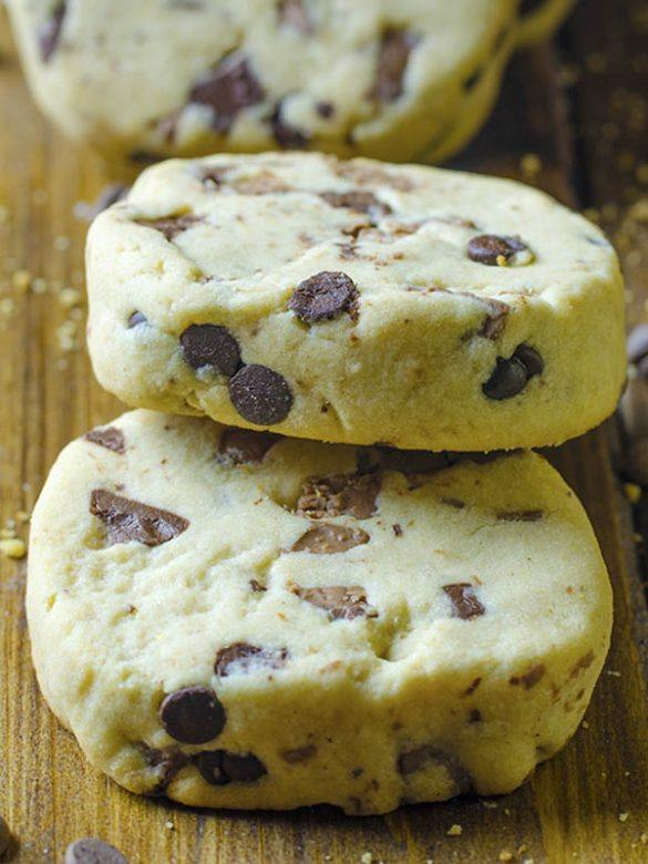 Peanut Butter Chocolate Chip Shortbread Cookies on the table