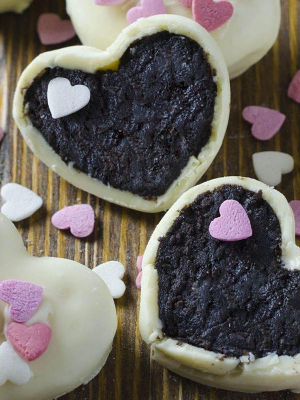 Sliced Oreo Truffles Valentines Hearts