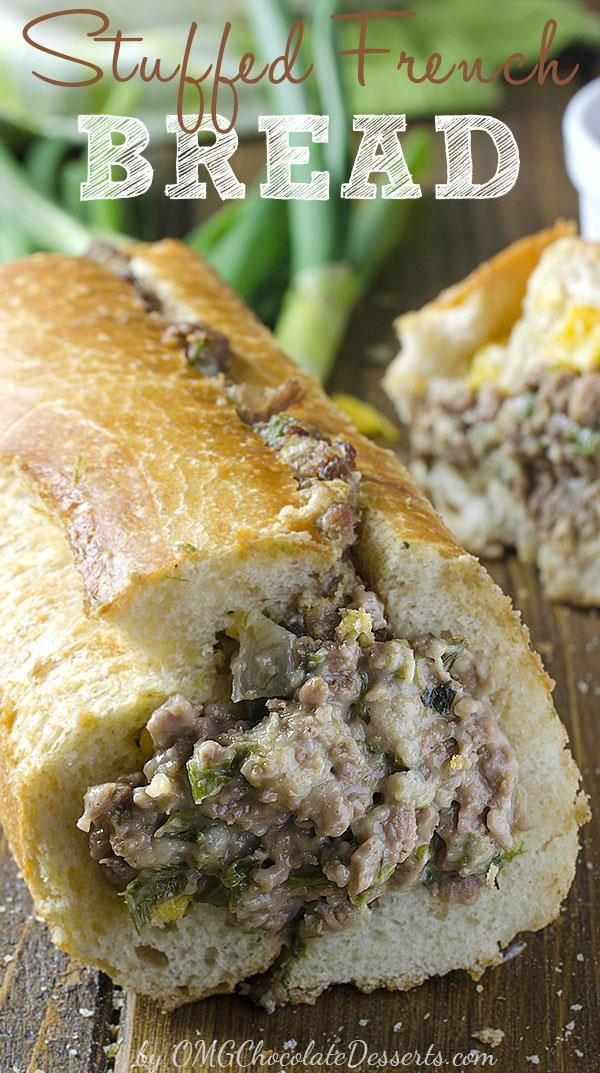 In only half an hour, prepare a quick and tasty dinner for your family! Stuffed French Bread is a quick and a simple recipe for a crispy loaf of bread stuffed with cheesy minced beef.