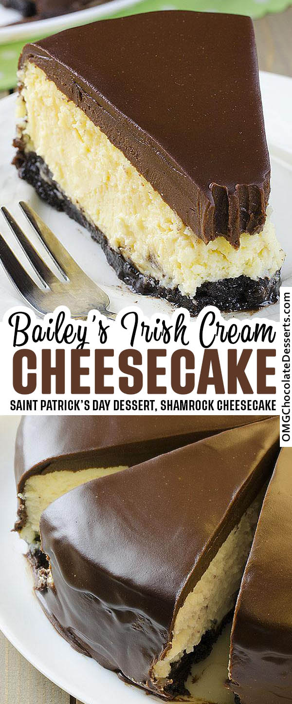 Extra decadent Baileys Irish Cream Cheesecake is the perfect grown-up dessert. Smooth and creamy with a delicious Irish cream flavor - perfect St. Patrick's day dessert.