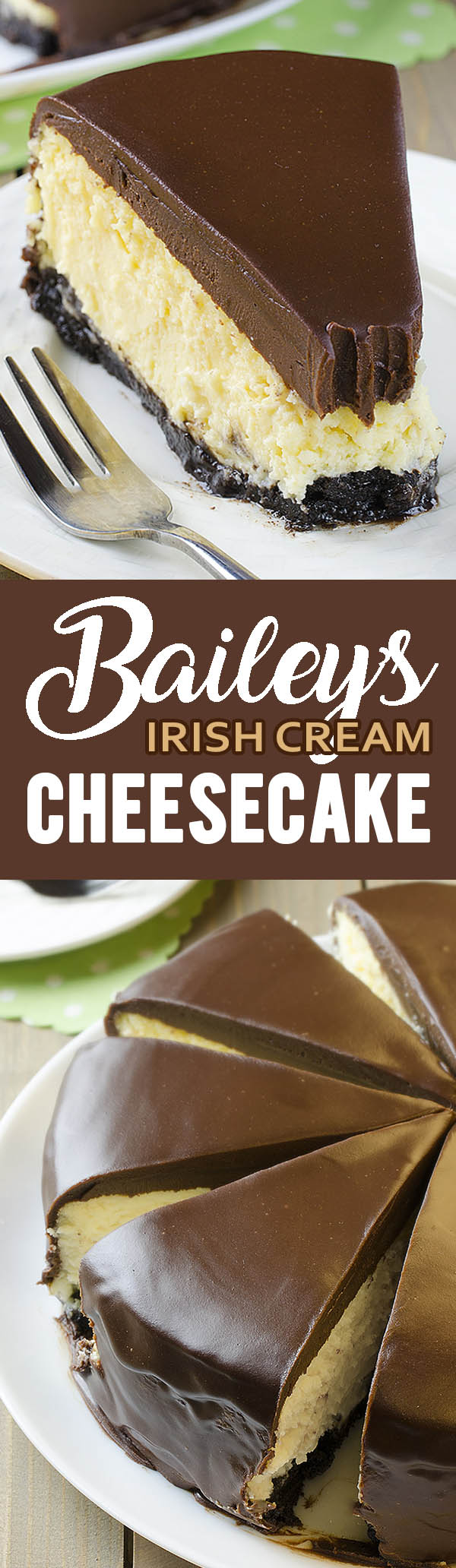Serve festive Bailey's Irish Cream Cheesecake on St. Patrick's Day or for any festive occasion. This is a decadent, moist cheesecake that never fails.