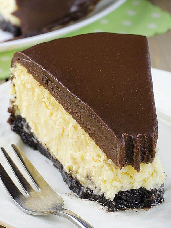 Bailey's Irish Cream Cheesecake on white plate