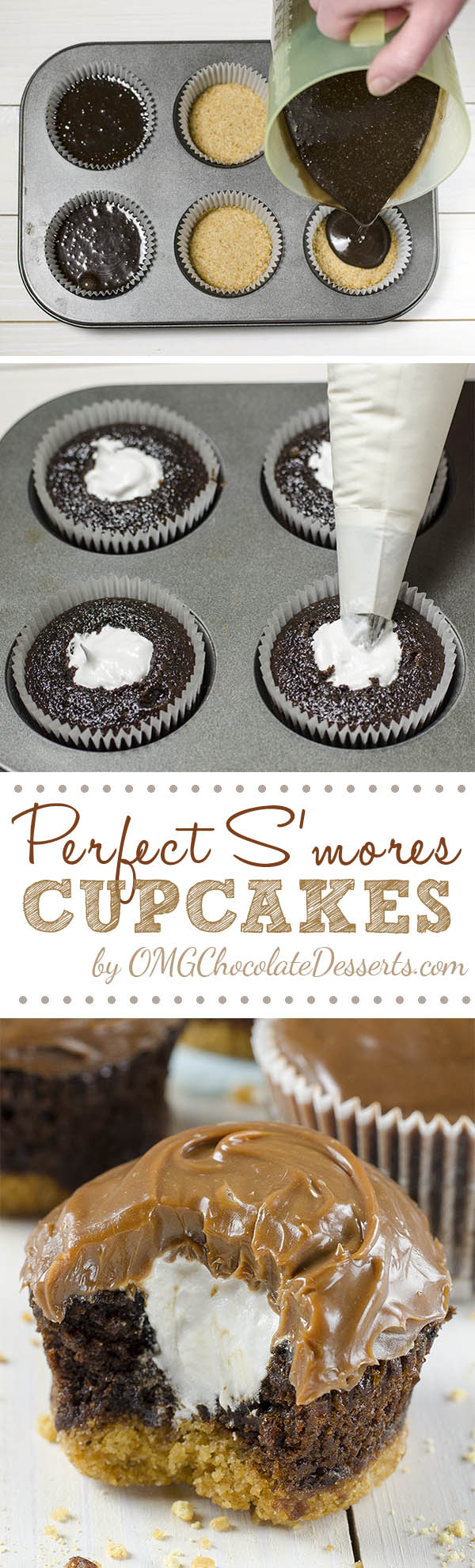 Perfect S'mores Cupcakes - delicious chocolate cupcakes with a graham cracker crust, filled with light and fluffymarshmallow filling and topped with milk chocolate ganache.