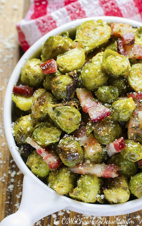 "Quick, healthy and at the same time, a dish that will keep you ""full"" for a long time?! If you think that this is an impossible combination, try Roasted Brussels Sprouts with fried pieces of bacon and parmesan. It will for sure become a dish you will often go back to!!!"