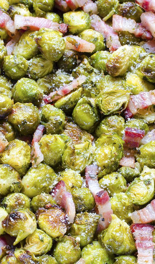 """Quick, healthy and at the same time, a dish that will keep you """"full"""" for a long time?! If you think that this is an impossible combination, try Roasted Brussels Sprouts with fried pieces of bacon and parmesan. It will for sure become a dish you will often go back to!!!"""