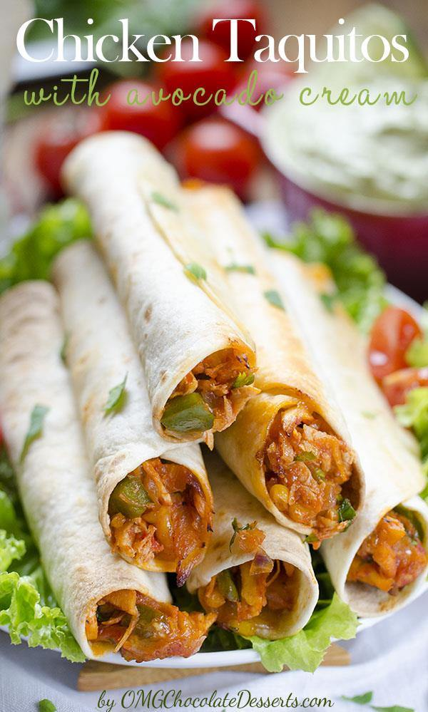 Chicken Taquitos with avocado creme are a quick, healthy and a tasty meal with chicken and fresh fruit, rolled into crunchy tortilla.