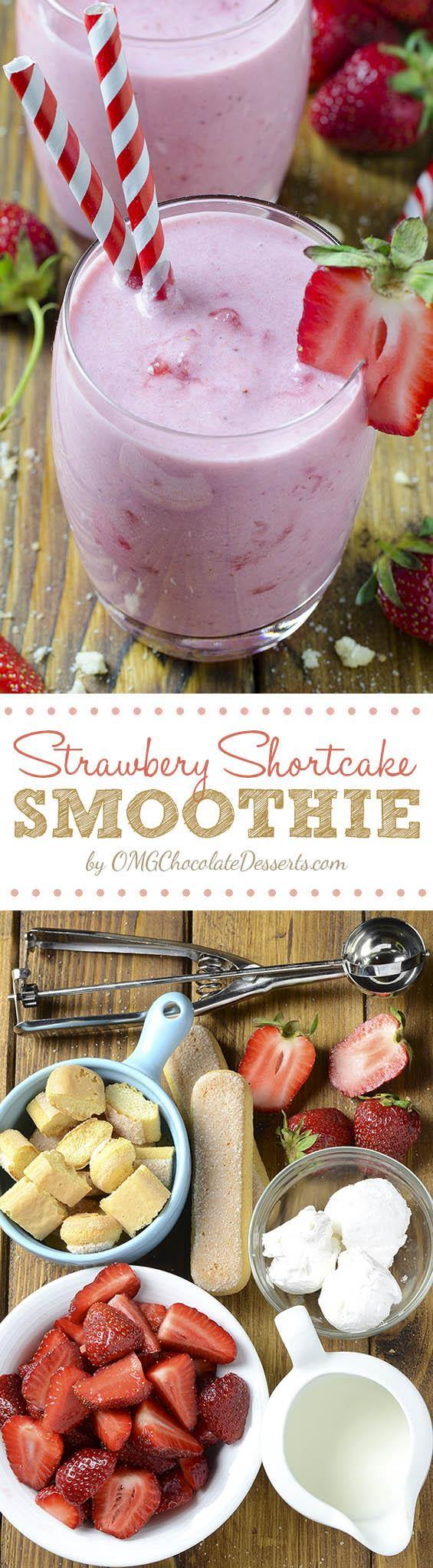 Strawberry Shortcake Smoothie is the best breakfast for busy mornings. Just throw 4 simple ingredients in a blender and ending up with a delicious and healthy meal.