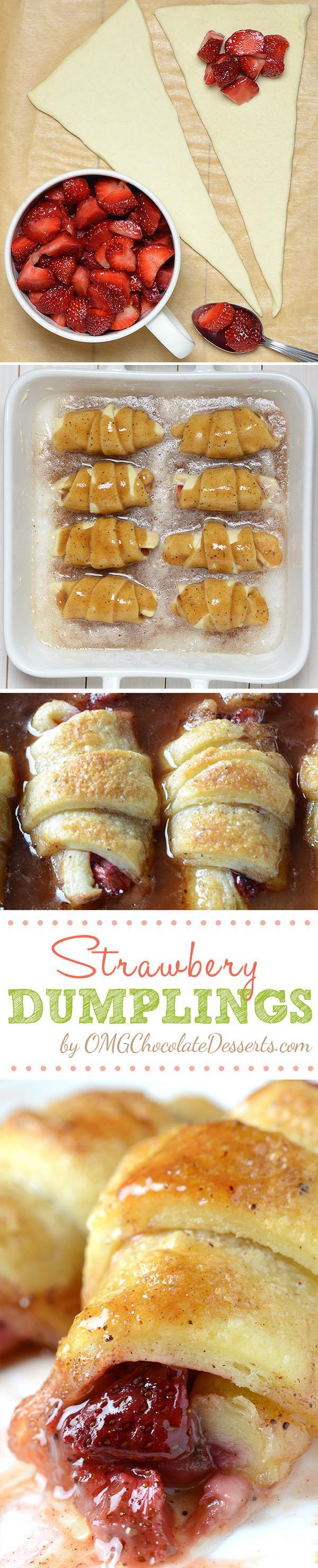 Strawberry Dumplings served with a scoop of vanilla ice cream will be perfect spring and summer treat. Crescent rolls filled with strawberries, baked in butter and brown sugar sauce, gets delightfully crisp tops while the bottoms stay soft and gooey.