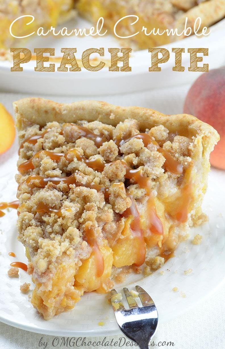 Crumble peach pie on a white plate!