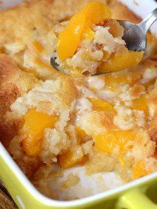 Casserole pan full of Peach Cobbler