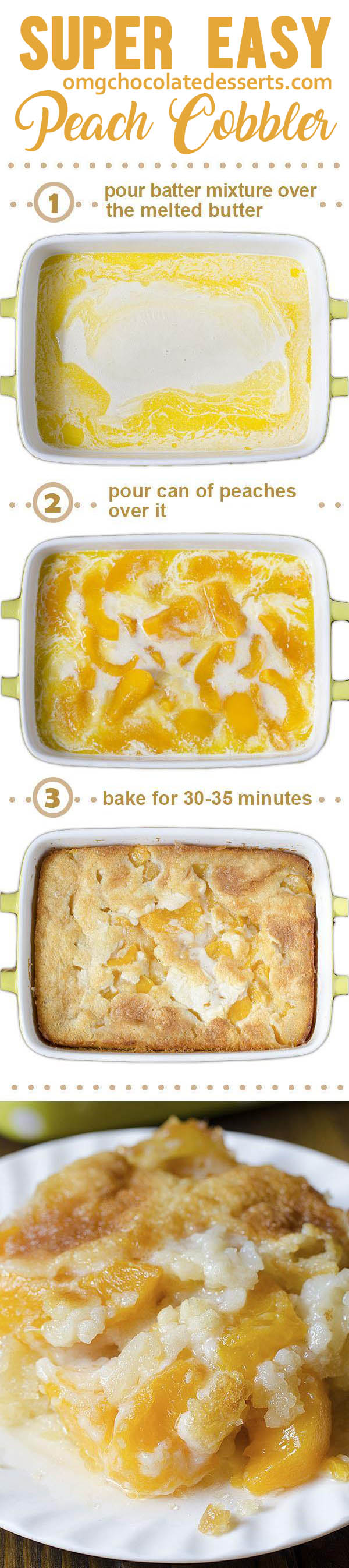 This easy peach cobbler recipe is one of our most popular desserts and is the pefect ending to any summertime meal. This really is the best Peach Cobbler I've EVER had.
