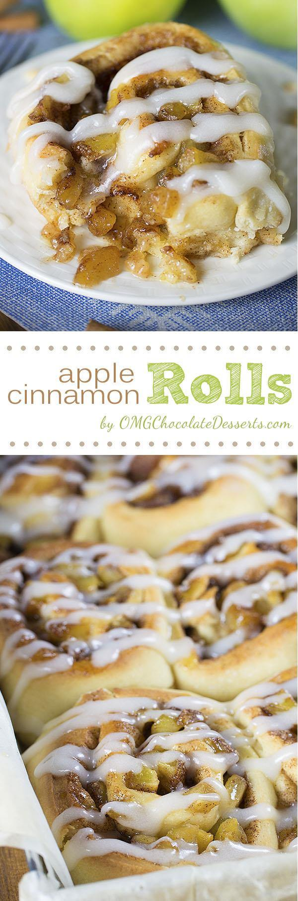 Apple Pie Cinnamon Rolls - soft and moist cinnamon rolls filled with apple pie filling will be a perfect breakfast in the fall