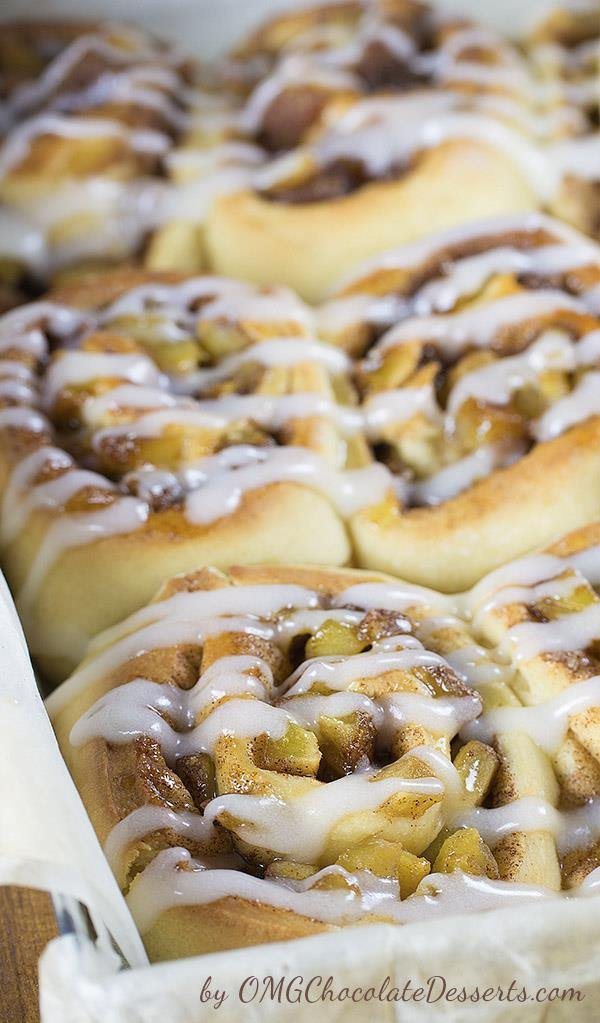Apple Pie Cinnamon Rolls-soft and moist cinnamon rolls filled with apple pie filling will be a perfect breakfast in the fall or…any time of year.