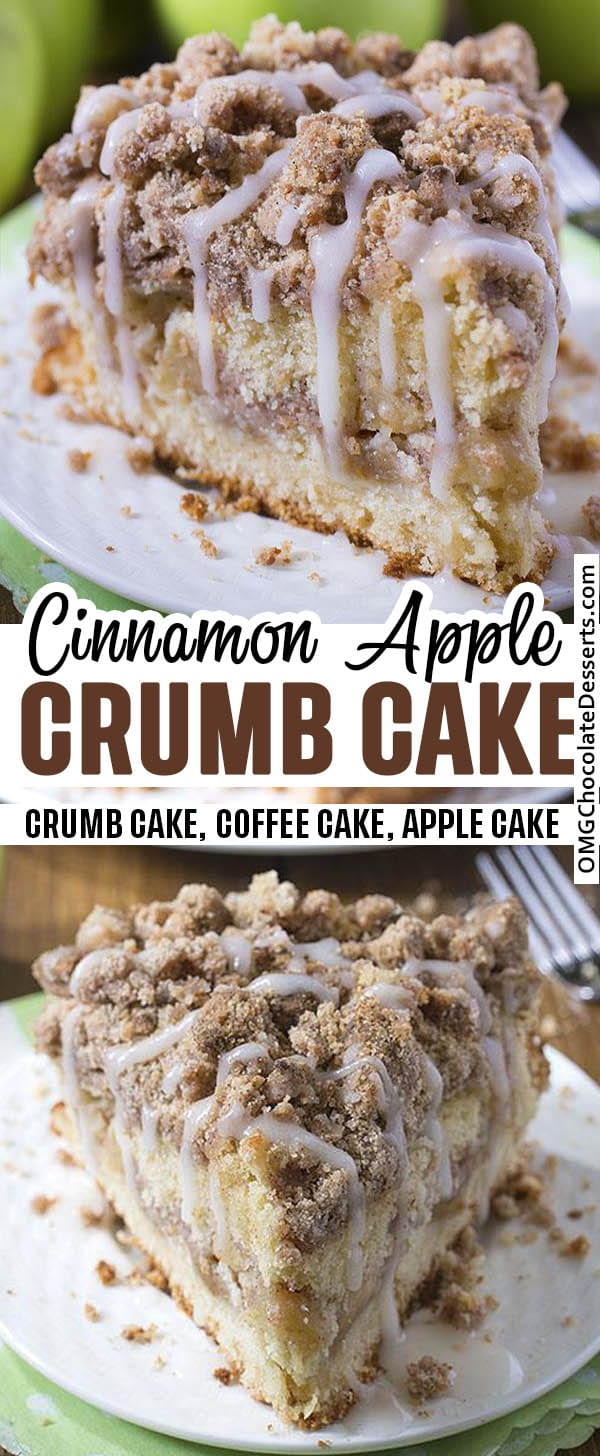 Cinnamon Apple Crumb Cake - two different images with recipe title beside.