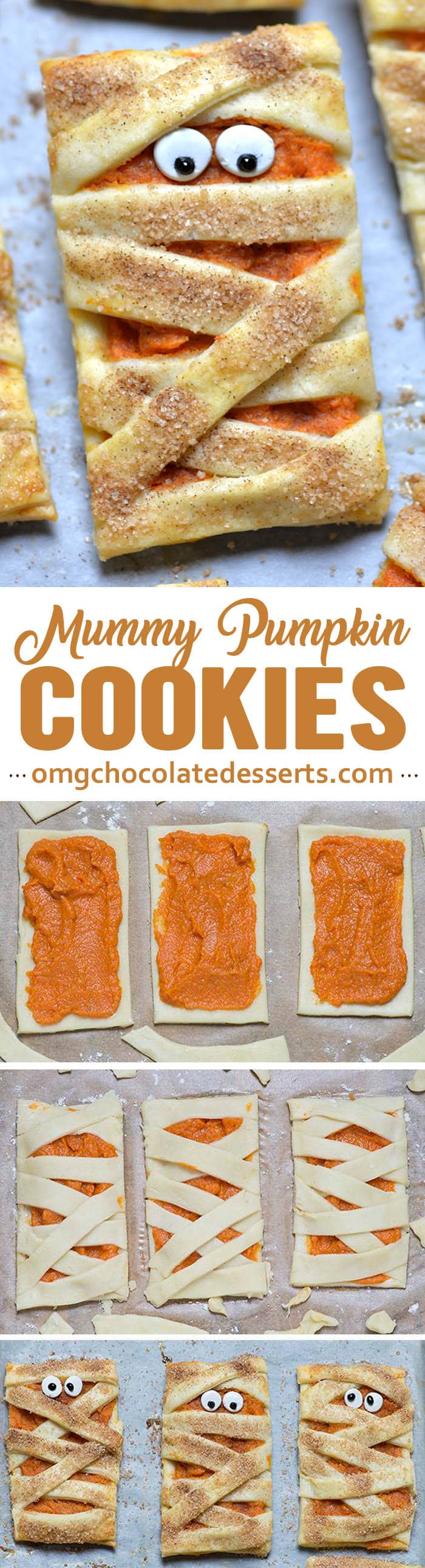 These delicious mummy pumpkin cookies are adorable and perfect for Halloween! So simple and easy to make, and perfect for parties!