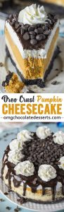 Pumpkin Cheesecake is a fluffy, creamy pumpkin cheesecake perfect for Thanksgiving! Easy to make with an Oreo base and beautiful fall flavours!