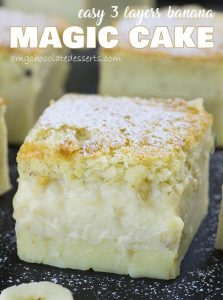 Big piece of Easy Banana Magic Cake with three custard layers.