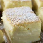 Slice of vanilla custard cake in a pan