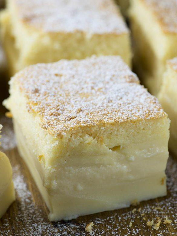 Slice of Vanilla Magic Custard Cake.
