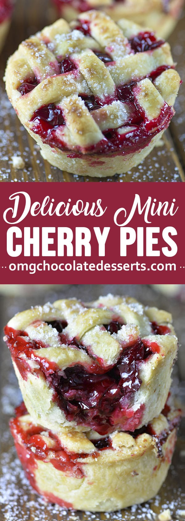 These mini cherry pies are baked in a muffin tin so they're easy to make and even easier to take to a party, potluck, or picnic.